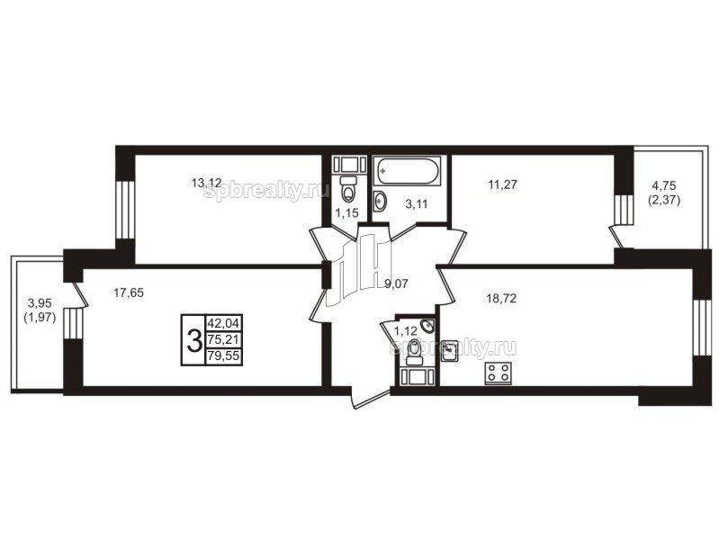 Планировка Трёхкомнатная квартира площадью 79.55 кв.м в ЖК «Старая крепость»